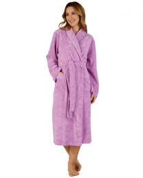Slenderella Shawl Collar Floral Embossed Gown - Lilac