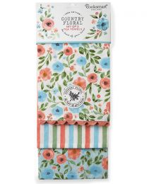 Cooksmart 3 Pack Country Floral Tea Towels