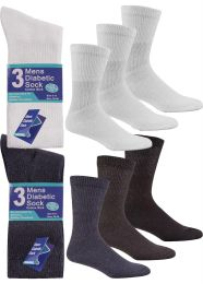 6 Pairs Mens 6-11 Diabetic Cotton Rich Loose Top Socks