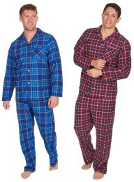 Mens Undercover Thermal Super Soft Checked Pyjamas Red or Blue M-2XL