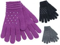 Ladies Foxbury Soft Jacquard Gloves with Diamante Sparkles Black, Grey, Navy, or Grape