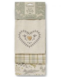 Cooksmart 3 Pack Woodland Tea Towels