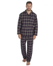 Pierre Roche Flannel Check Pyjamas - Navy
