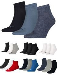 3 Pack Puma Unisex Cotton Rich Quarter Sports Sock