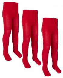 3 Pairs Girls Cotton Rich Tights - Red