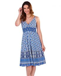 Pistachio Blue Circle Print Cotton Dress