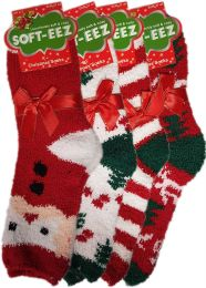 Ladies Christmas Xmas Festive Soft Fleece Socks