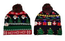 Adults Unisex Undercover Novelty LED Light Up Christmas Beanie Xmas Hat with Pom Pom