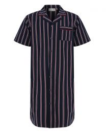 Walker Reid Woven Button Nightshirt - Navy