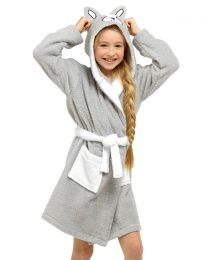 Tom Franks Kids Grey Frenchie Towelling Dressing Gown