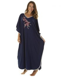 La Marquise Floral Embroidered Kaftan - Navy