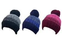 Ladies Undercover Waterproof and Windproof Lurex Knitted Beanie Hat with Pom Pom