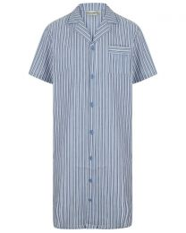 Walker Reid Cotton Stripe Nightshirt - Blue
