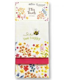 Cooksmart 3 Pack Bee Happy Tea Towels