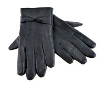 Ladies Tom Franks Sheepskin Leather Gloves With Bow GL147 Black
