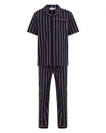 Walker Reid Woven Button Pyjamas - Navy