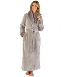Slenderella Fur Collar Dressing Gown - Grey