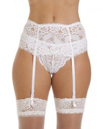 Silky Wide Lace Suspender Belt - White