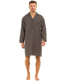 Haigman Brushed Cotton Nightshirt - Navy/Beige Check