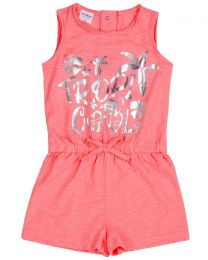 Girls Neon Tropical Playsuit - Pink