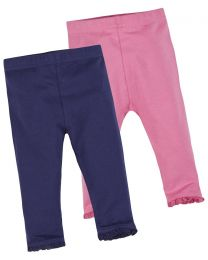 Baby 2 Pack Soft Jersey Leggings - Navy/Pink