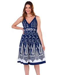 Pistachio Navy Pattern Cotton Summer Dress