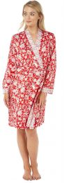 Womens Indigo Sky Satin Long Sleeve Dressing Gown Wrap Floral Print