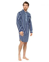 Walter Grange Striped Nightshirt - Navy