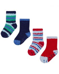4 Pairs Baby Fluffy Socks - Red/Blue