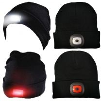 Adults Undercover Knitted Beanie Hat with Dual LED Lights Black