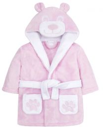 Baby Teddy Fleece Robe - Pink