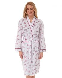 Lady Olga Floral Woven Dressing Gown - Pink