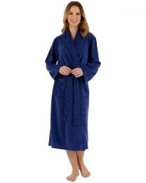 Slenderella Shawl Collar Floral Embossed Gown - Navy