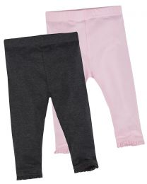Baby 2 Pack Soft Jersey Leggings - Pink/Charcoal