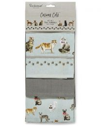 Cooksmart 3 Pack Curious Cats Tea Towels
