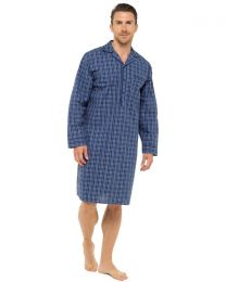 Sleepy Joes Long Sleeve Nightshirt - Navy