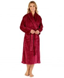 Slenderella Chevron Wrap Dressing Gown - Raspberry