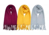 Ladies Undercover Brushed Polyester Tassle Scarf Mustard, Grey or Berry