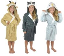 Childrens Soft Fleece Novelty Animal Dressing Gown with Hood