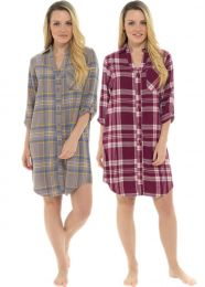 Ladies Undercover Brushed Cotton Traditional Button Nightshirt Nightie