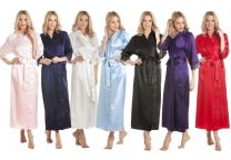 Womens Luxury Satin Long Laced Dressing Gown Various Colours Size 10-24