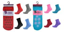 4 Pairs Womens Thermal Fleece Lounge Bed Slipper Socks With Rubber Grips on Sole SK130
