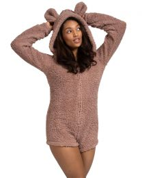 Loungeable Sherpa Teddy Romper - Taupe