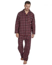 Pierre Roche Flannel Check Pyjamas - Burgundy