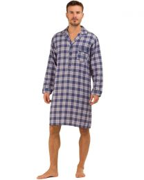 Haigman Brushed Cotton Nightshirt - Blue/Red Check
