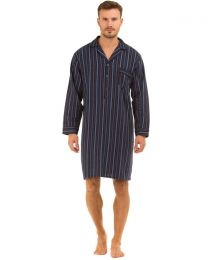 Haigman Brushed Cotton Nightshirt - Blue/Navy/Grey Stripe