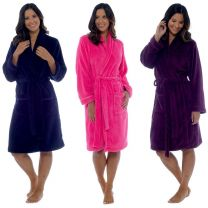 Womens Luxury Follow That Dream Cuddle Fleece Dressing Gown with Shawl Collar  Aubergine Navy or Pink