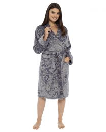 Foxbury Star Foil Print Robe - Grey