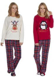 Ladies Undercover Fleece Christmas Xmas Novelty Pyjamas With Matching Slippers