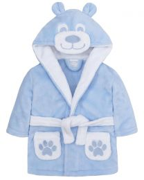 Baby Teddy Fleece Robe - Blue